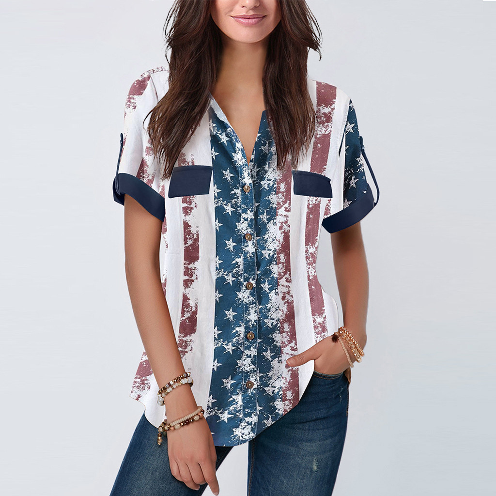 Women Blouse American Flag Printed Short Sleeve Blouse Womens Tops And Blouses Casual Blusas Mujer De Moda 2019 Blusas NEW