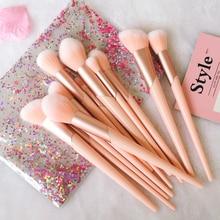 Conjunto de pincéis de maquiagem com cabo ouro rosa, 7 peças, pó de fundação blush, sombra e lábio, kit de ferramentas de maquiagem de beleza facial com estojo