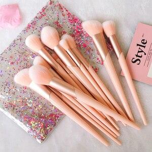 Image 1 - Juego de brochas de maquillaje con mango de oro rosa, 7 Uds. De brochas de maquillaje, polvo de base, colorete, sombra de ojos, labios, belleza facial