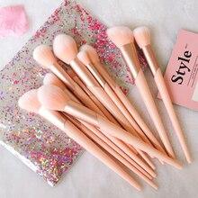 Kit de pinceaux de maquillage, 7 pièces, avec manche en or Rose, pour poudre de fond de teint, fard à paupières, lèvres, outils de beauté pour visage, avec étui