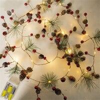 Weihnachten Dekorationen für Haus 2m 20 Led Kupfer Draht Kiefer Kegel Led Licht Weihnachten Baum Dekorationen Kerst Natal Navidad noel
