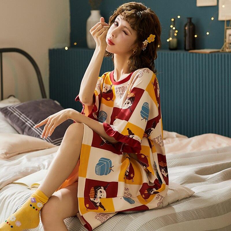 BZEL Nightgowns For Women Summer Spring Dressing Gowns Girls Nightdress Negligee Cotton Sleepwear Nightwear Lounge Wear M-XXL