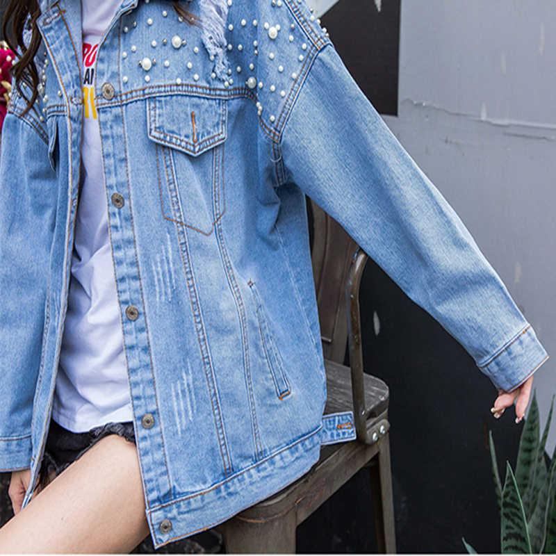 Перламутровая точечная нашивка единорога джинсовая куртка женская с дырками с блестками и ОТВОРОТОМ с длинным рукавом джинсовая куртка осенняя синяя джинсовая куртка 2019 Прямая поставка