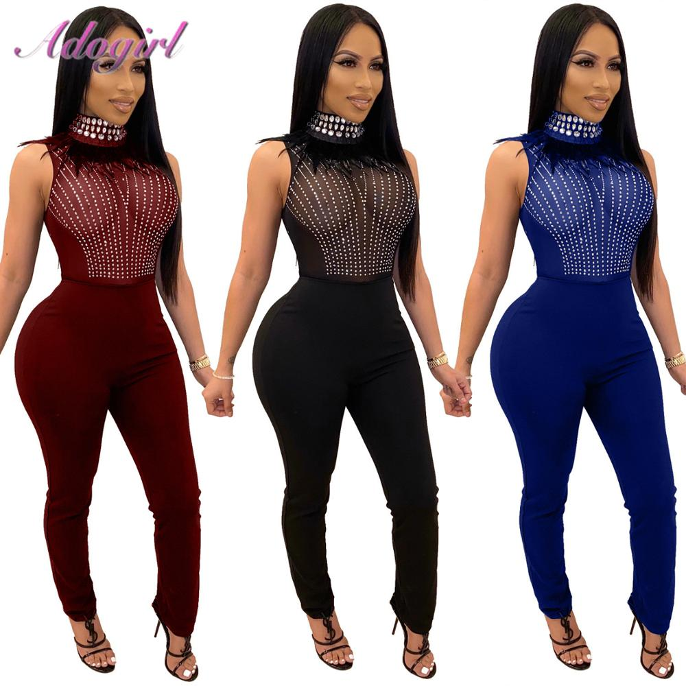 Sexy Crystal Diamond Sheer Mesh Patchwork Feather Night Party Skinny Jumpsuit Women New Turtleneck Sleeveless Club Outfit Romper