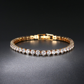 ZHOUYANG Tennis Bracelets For Women Simple Luxury Round Crystal Gold Color Bangle Chain Wedding Girl Gift Wholesale Jewelry H074 1