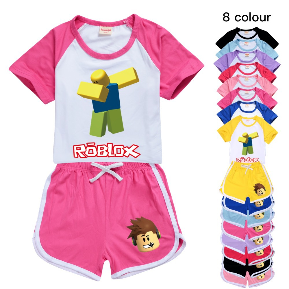 Girls Boys Summer Clothing Set ROBLOXing Kids Sports Pants Baby Clothing T shirt Beach Shorts outfits Pyjamas For 2-8-12-16Years