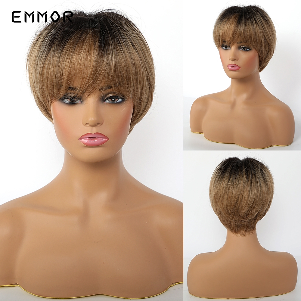EMMOR Short Straight Ash Ombre Brown Layered Hair with Black Root for Women Heat Resistant Natural Synthetic Wigs with Bangs