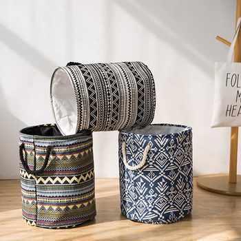 Vintage Folding Laundry Storage Basket Toys Bohemia Storage Basket Sundries Clothes Organizer Storage Box Home Container Barrel