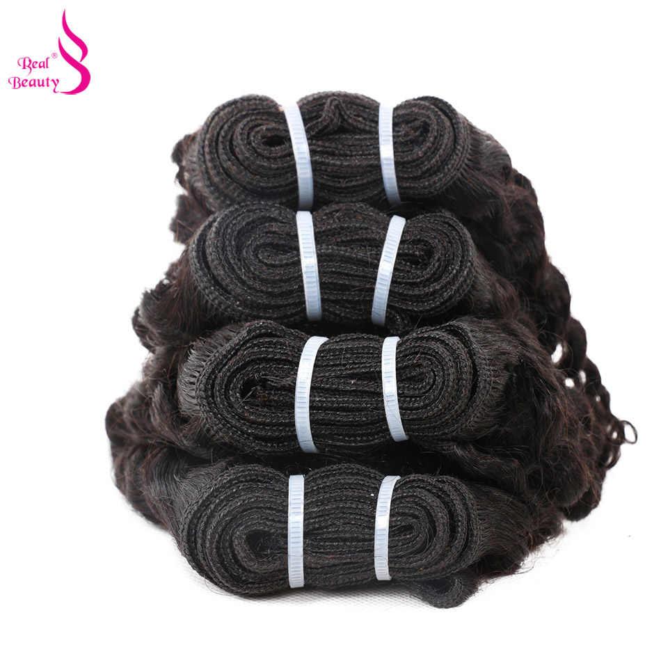 Echte Schoonheid Braziliaanse Diepe Golf 4 Bundels met Vetersluiting Menselijk Haar Bundels Deals Oceaan Weave Remy Human Hair Extensions
