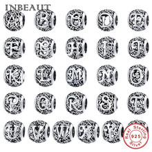 Pan Fast-Delivery Bracelet Charm Beads Jewelry-Making Letter DIY 100%925-Sterling-Silver