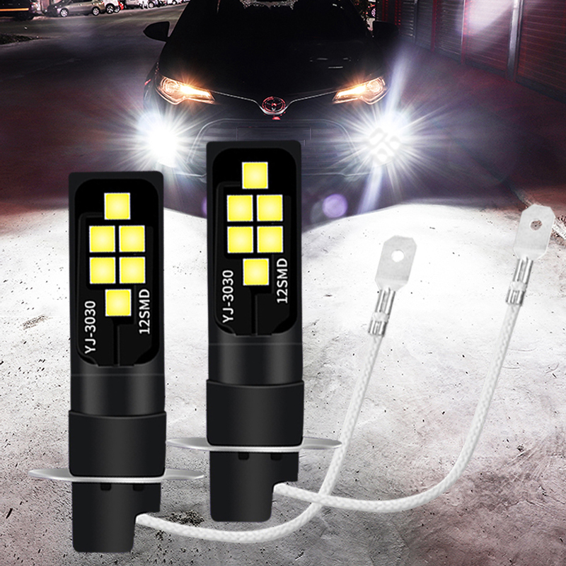 2x H3 Led Bulbs Super Bright Led 12SMD 3030 1200LM Driving Running Lights Fog Lights Auto Leds Car Light Lamp Orange White  Pink