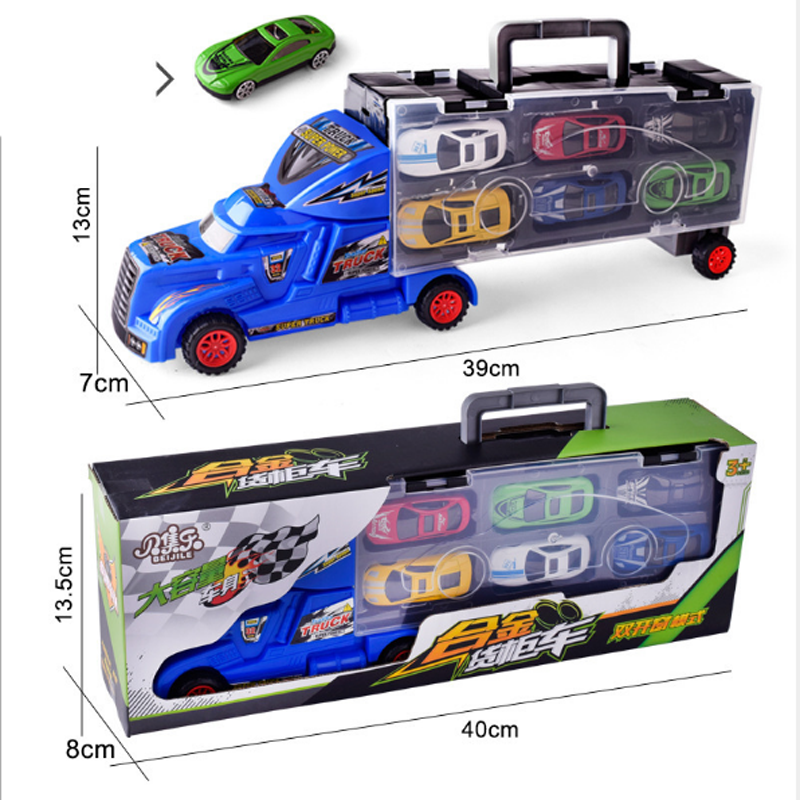 12pcs Carrier Truck Set Premium Transporter Car Carrier Truck Model Inertia Cars Vehicle Toys Vehicle Set For Children Toddler