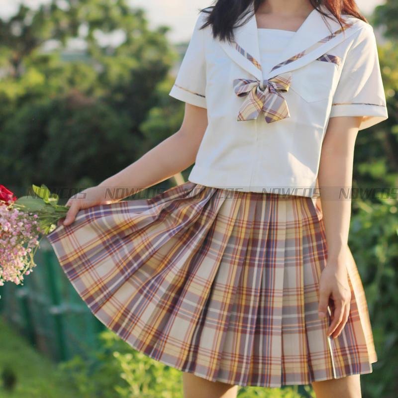 [Kerria Japonica] Formal JK Girl's High Waist Pleated Skirts Plaid Skirts Women Dress For JK School Uniform Students Clothes