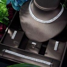 HIBRIDE Top Quality zestawy biżuterii dla nowożeńców dla kobiet nowy elegancki cyrkon betonowa Bohemia zestaw biżuteria ślubna akcesoria imprezowe N 921