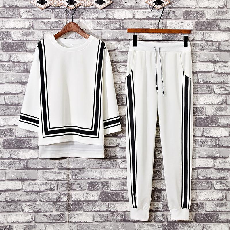 2018 Summer Men's Three-quarter-length Sleeve Thin Trend Loose-Fit Teenager Trousers Ankle Banded Pants Fashion & Sports Set