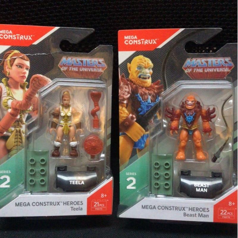Heroes Teela & Beast Man Masters Of The Universe Mega Figures Construx