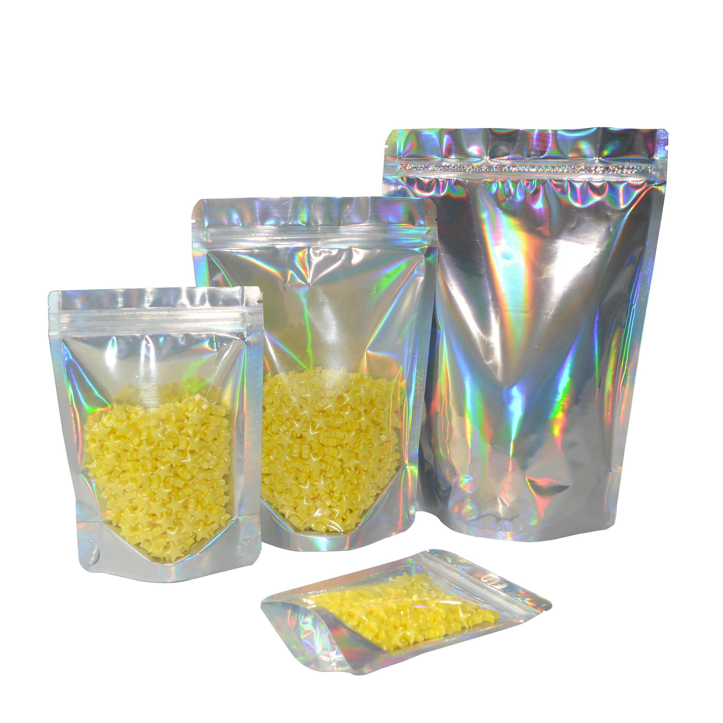 100 Pcs Zip serratura Sacchetto di Plastica Foglio di Alluminio Ologramma Cibo Mylar Sacchetto Odore Prova Dell'acqua Della Chiusura Lampo Richiudibile Borse Multiuso