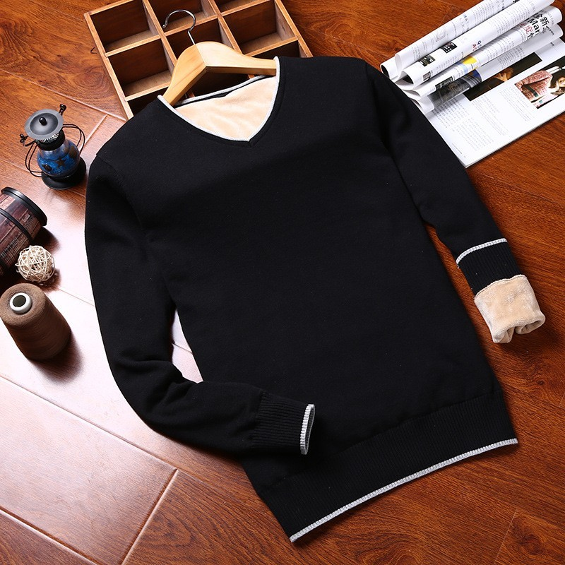 Winter Mens Knitwear Sweater V Neck Fleece Lining Warm Sueter Hombre Slim Fit Pullover Casual Jumper Long Sleeve Thick Sweaters