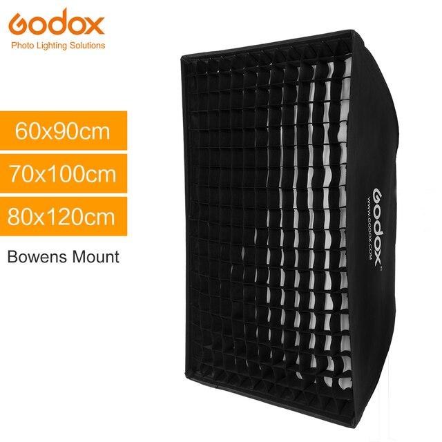 Godox صندوق سوفت بوكس مستطيل محمول ، 60 × 90 سم ، 70 × 100 سم ، 80 × 120 سم ، شبكة قرص العسل ، مع حامل Bowens ، فلاش الاستوديو