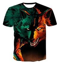 Camisa con estampado 3D de animales para hombre y mujer, camisa de manga corta redonda con cuello redondo, cómoda, holgada, talla S-6XL, gran oferta de verano 2020
