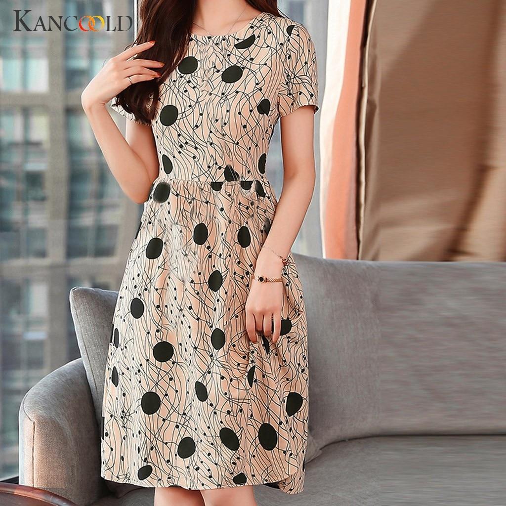 KANCOOLD dress Women Summer Lady Elegant O-Neck Short Sleeve Wave Point Elastic Dress casual Fashion new dress women 2019DEC3