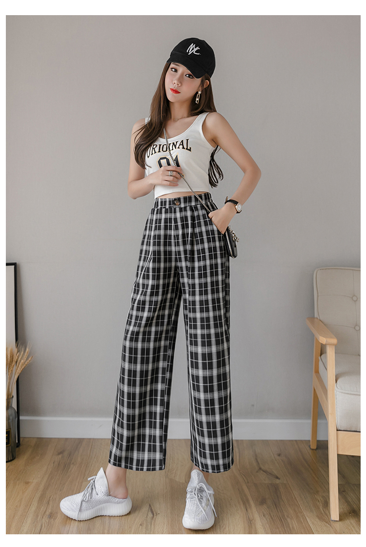 Syiwidii vintage plaid pants elastic waist pants women high waist plus size wide leg Pants Casual female korean trousers women