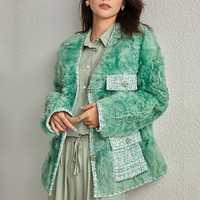 Echtpelz Frauen Mäntel 2019 Winter Mode Natürliche Lamm Pelz Outwear Karakul Schafe Pelz Warme Und Dicke V-Kragen lange Hülse Jacke