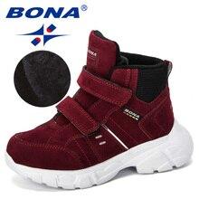 BONA nowe markowe buty dziecięce Outdoor Flock modne buty studenci trampki Plus aksamitne ciepłe dziecięce buty śnieżne wygodne