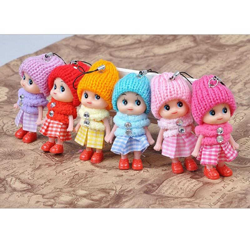 6PCS Cute Fashion Kids Plush Dolls Keychain Soft Stuffed Toys Keyring Mini Plush Animals Key Chain Baby For Girls Women