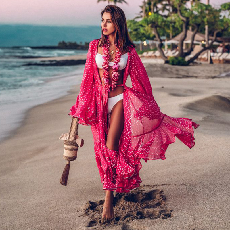 Women Swimsuit Cover Up Sleeve Kaftan Beach Tunic Dress Robe De Plage Solid White Cotton Pareo Beach High Collar Cover Up