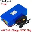 LiitoKala 48V 20ah 13s6p Lithium Akku 48V 20AH 2000W elektrische fahrrad batterie Gebaut in 50A BMS XT60 stecker + 54,6 V Ladegerät