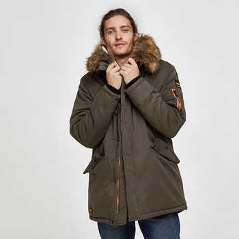 TIGER FORCE 2019 Men Parka Padded Coat Men\'s Winter Jacket Mens Thick Parkas Waterproof Artificial Fur Outerwear Winter Jacket