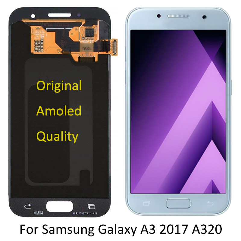 Original Super <font><b>Amoled</b></font> For Samsung Galaxy A3 2017 <font><b>A320</b></font> SM-A320F LCD Screen A320FL A320Y mobile phone Glass Panel Replacement image