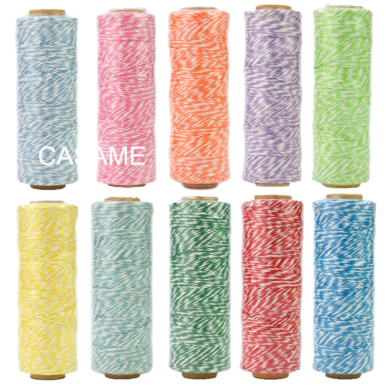 100% Natural Cotton Rope 4ply (100Yards) Thin Bakers Twine Color Cotton String Color Party Decoration Wedding Unicorn Favors