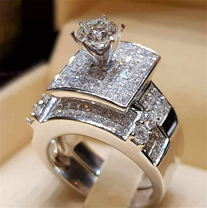 ยี่ห้อ Luxury หญิงใหญ่ชุดแหวนแฟชั่นเงิน 925 รักเจ้าสาวสัญญาหมั้นแหวน Zircon แหวนหินสำหรับผู้หญิง