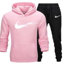 New Solid Color Printing Fashion Hoodie + Pants Suit Autumn and Winter Running Sportswear Men's Sports Shirt Fitness Clothing