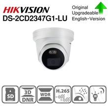 Hikvision cámara IP ColorVu Original, DS 2CD2347G1 LU, Red de 4MP, bala, POE, IP, H.265, CCTV, ranura para tarjeta SD