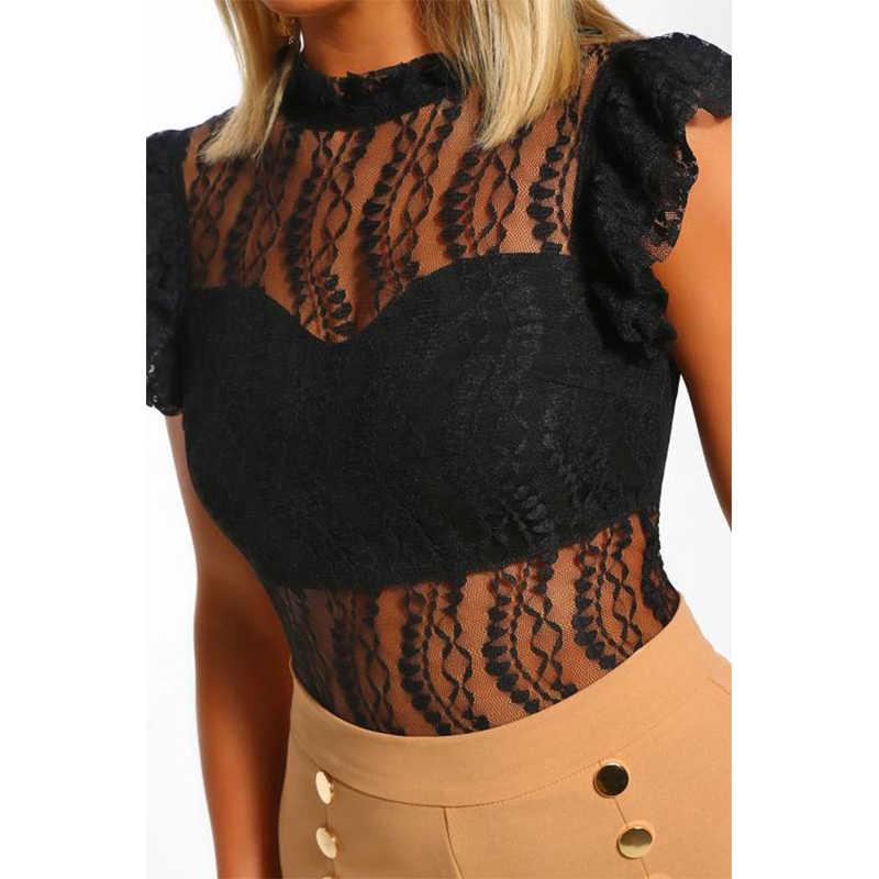 Sebowel sexy preto laço feminino bodysuit 2019 senhoras chiques sem mangas gola alta bodysuits feminino clube roupas macacão sheer topos