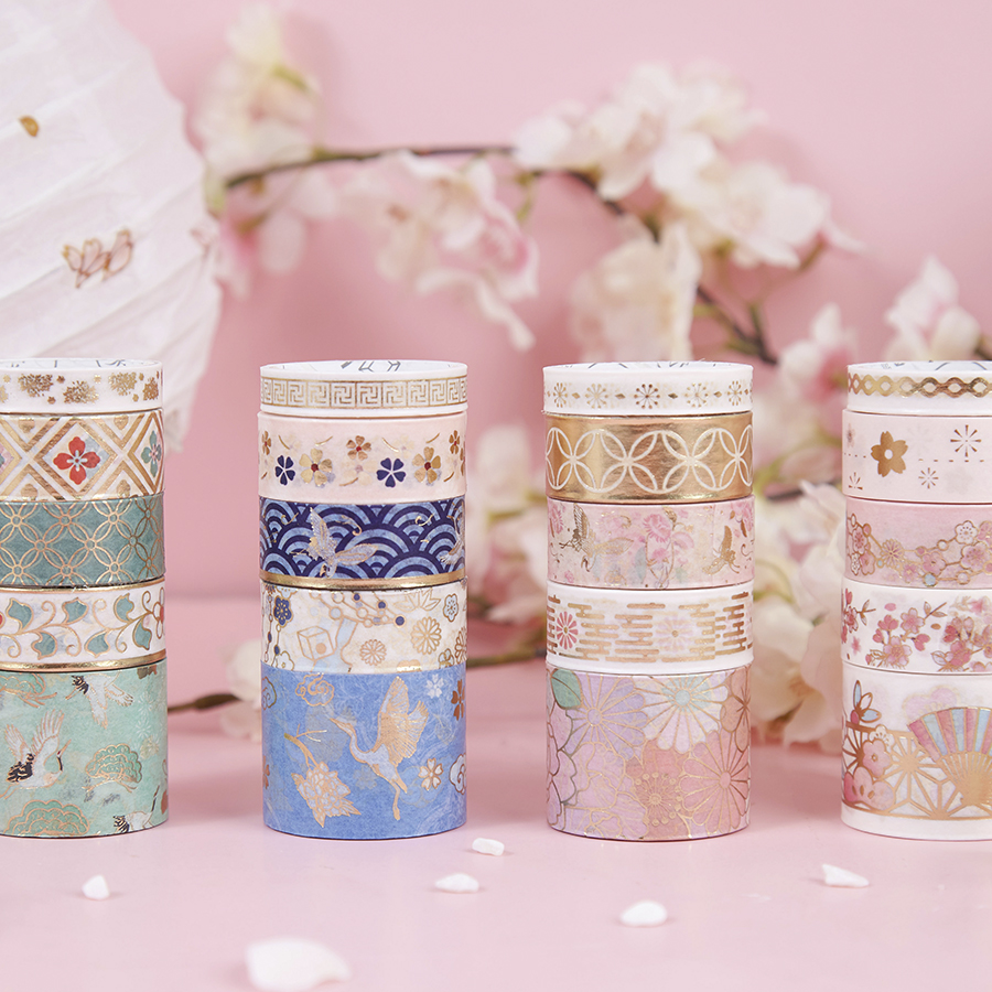 20pcs Gold Foil Color Paper Washi Tape Set Luxury Palace Blooming Flower Star Adhesive Decoration Tapes Stickers DIY Album F157