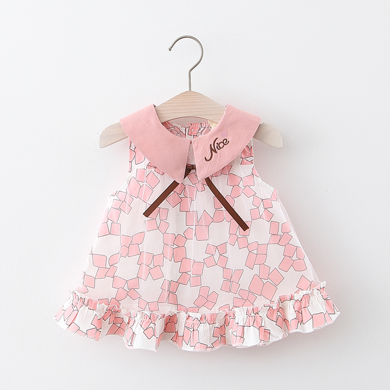 Summer Baby Girl Dress Cotton Print Bow Tulle Party Princess Dress Newborn Infant Toddler Dress Baby Girl Clothes For 0-24M