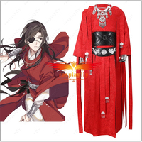 Anime Heaven Official's Blessing Hua Cheng Cosplay Costume Red Kimono Belt Adult Men Women's Outfit Clothing Cuff Christmas