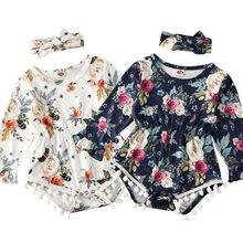 Focusnorm/осеннее боди для новорожденных девочек с длинными рукавами и цветочным принтом Комбинезон одежды снаряжение комплект+ повязка на голову 2 шт. одежда