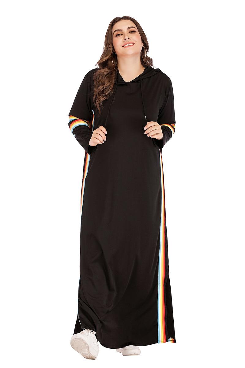 Turkey Hooded Tracksuit Maxi Dress Women Muslim Arab Striped Jogging Sports Long Dress Walk Wear Musulman Islamic Clothing 4XL