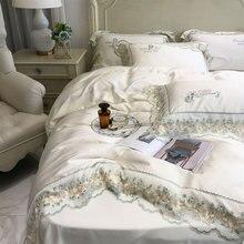 Juego de cama de princesa lazo flor para adultos, tamaño king vintage, elegante, doble Hogar, textil, Sábana, funda de almohada, funda de edredón
