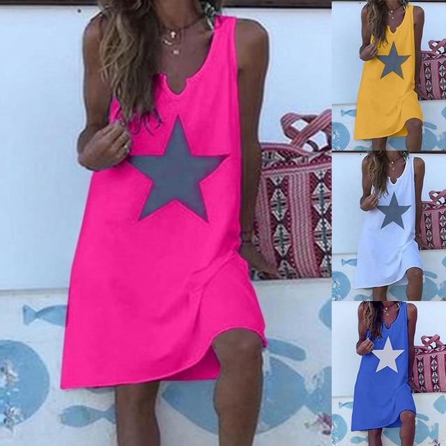 Women 2021 Loose Vintage Star Print Cotton Dress Large Big Summer  Party Beach Dresses Plus Sizes 1