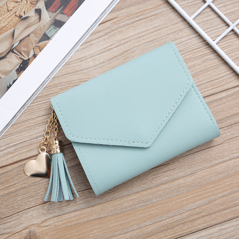 Women Solid Color Square Short Wallet Lady Litchi Pattern Envelope Tassel Purse Female Hasp Card Holder Pendant Clutch Wa0075