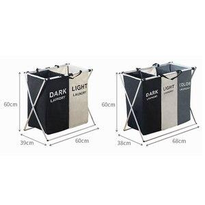 Image 5 - Katlanır çamaşır sepeti organizatör kirli giysiler çamaşır sepeti büyük sıralayıcısı İki veya üç ızgaraları katlanabilir katlanır sepet