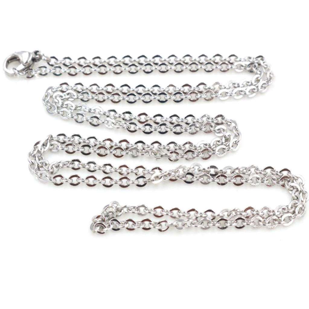 ( No Fade ) 5pcs /lot 3x2mm Man Women Chain Necklace 316L Stainless Steel O Link Pendant Necklace Fashion Jewelry 50CM 70CM Long