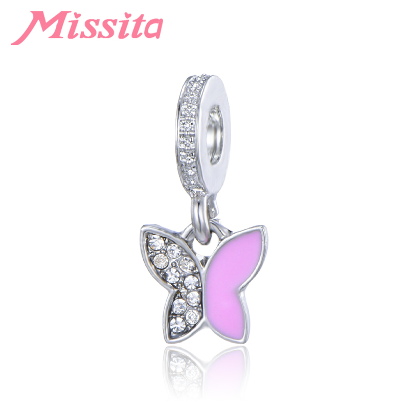 MISSITA Women Lovely Butterfly Charms fit Pandora Bracelets & Necklaces for Jewelry Making Ladies Accessories