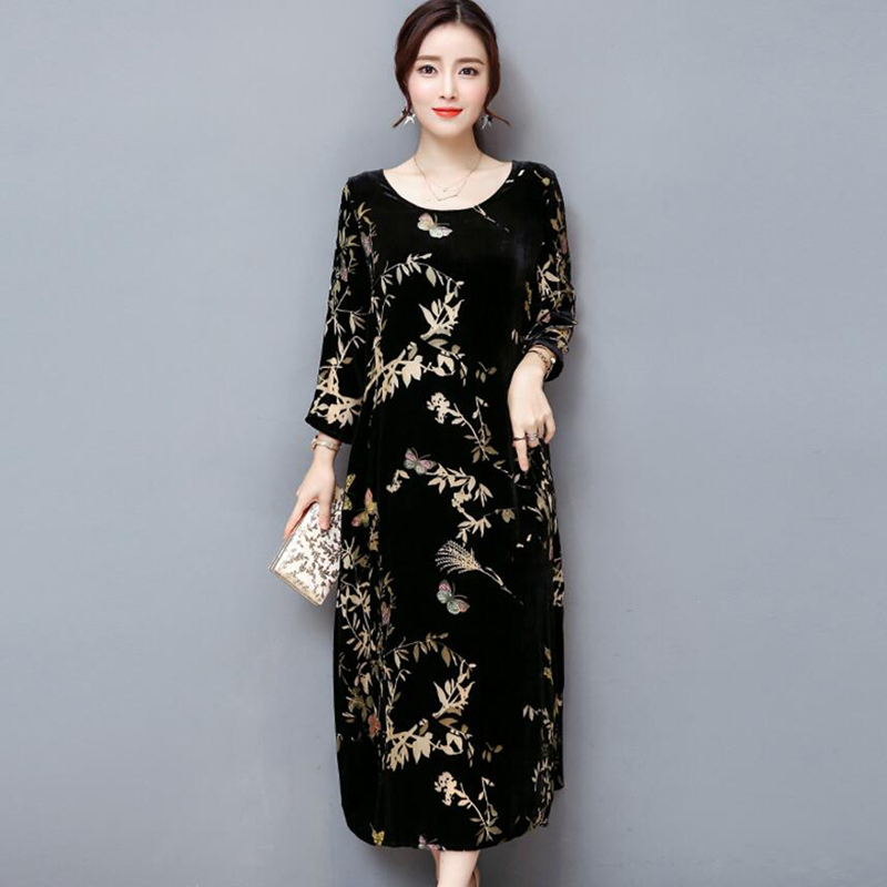 Plus Size 4xl Gold Velvet Dress Women elegant Vintage Autumn Winter Retro Print female Maxi Long Fashion black Tshirt Dresses